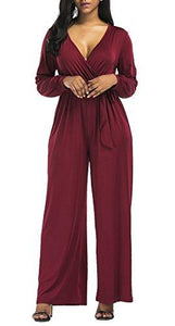 Blue V Neck Long Sleeve Wide Leg Jumpsuit With Belt