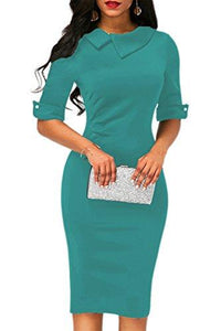 Pleated Detail Back Zipper Sheath Dress-Cyan