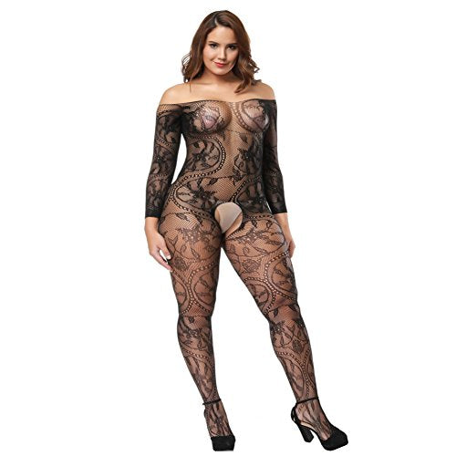 Black Plus Size Fishnet Crotchless Bodysuit With Sleeves
