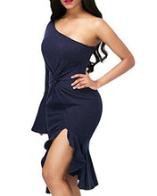 Navy One Shoulder Bell Sleeve Dress