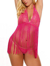 Rose Plus Size Halter Babydoll Tassel Set