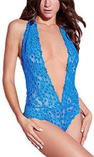 Blue Sexy Scalloped Trim Lace Open Back Plunging Teddy