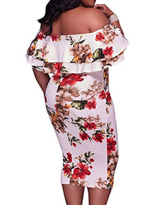 Floral Off Shoulder Ruffle Plus Size Dress