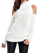 White Turtleneck Cold Shoulder Long Sleeve Sweater Pullover