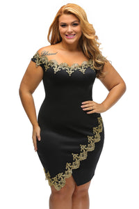 Gold Lace Applique Off Shoulder Dress