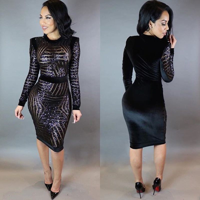 Black Sequin Mesh Dress