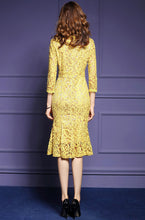 Yellow Lace Hollow Out  Dress