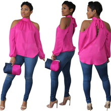 Pink Cold Shoulder Chiffon Long Sleeve Blouse
