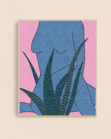 Blue Snake Plant Lady 8x10 Art Print