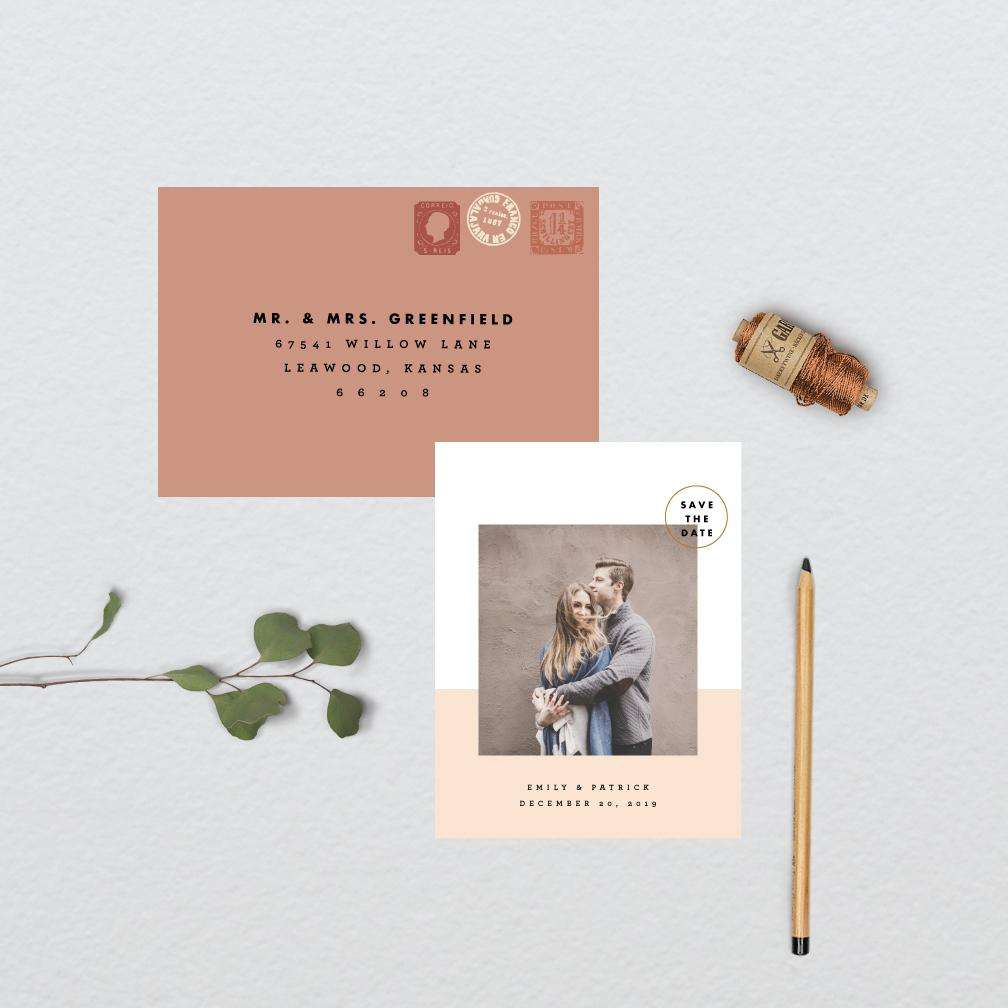 Minimal Color Block Photo Save the Date