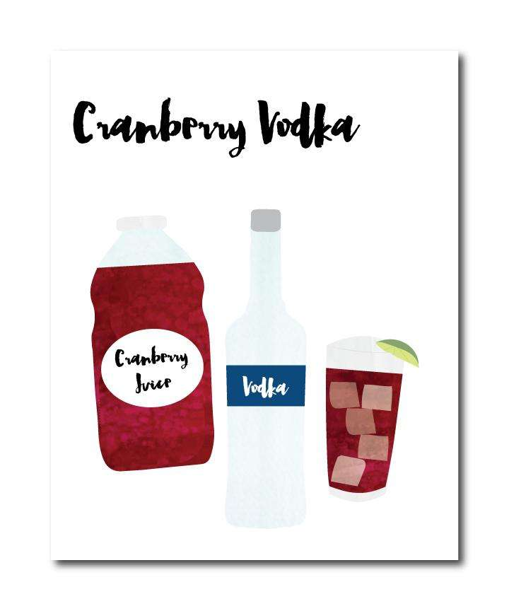 Cranberry Vodka Cocktail Wall Art Print
