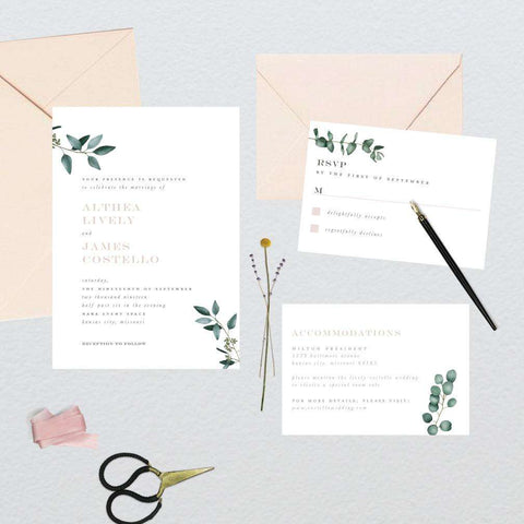 Minimal Eucalyptus Greenery Wedding Suite