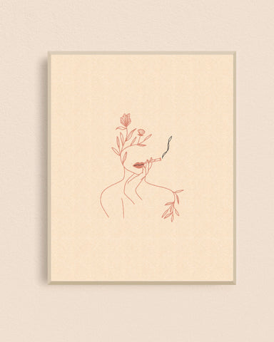 Floral Joint Lady 8x10 Art Print