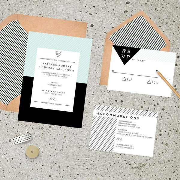 Modern Colorblock Geometric Wedding Suite