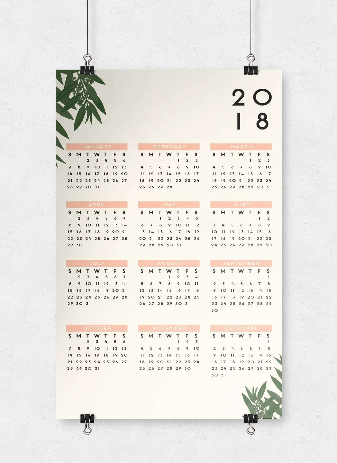 Greenery Botanical Wall Calendar | 11x17
