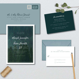 Modern Green Forest Wedding Suite
