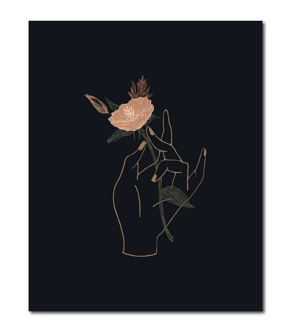 Hand Floral 8x10 Wall Art Print