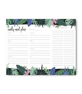 Vibrant Jungle Weekly Meal Plan Notepad | 8x10 | 52 Sheets