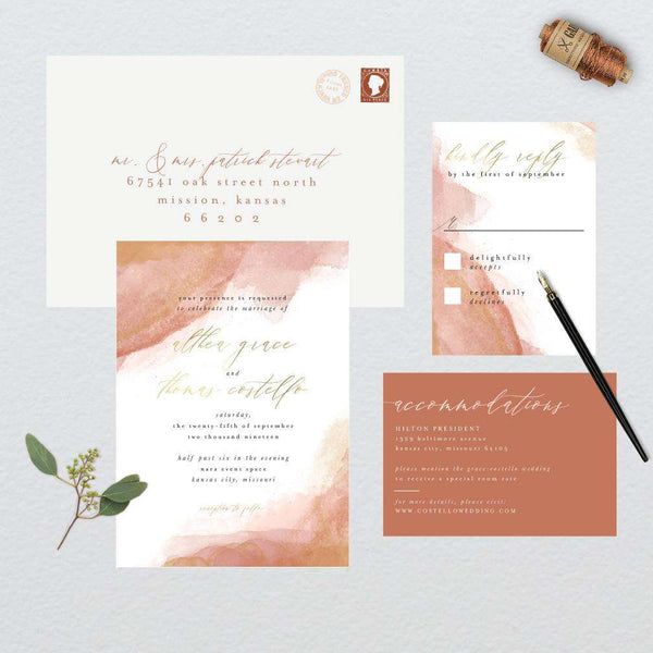 Romantic Watercolor Wedding Suite