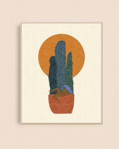 Potted Cacti Lady 8x10 Art Print