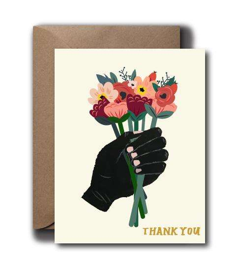 Whimsical Floral Thank You Greeting Card | A2