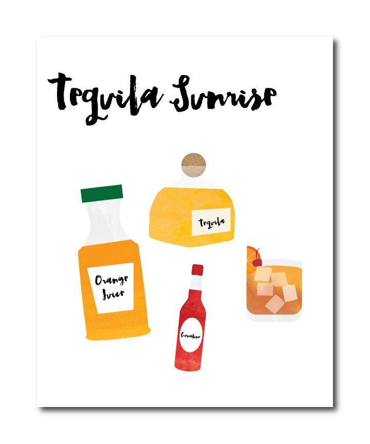 Tequila Sunrise Cocktail Wall Art Print