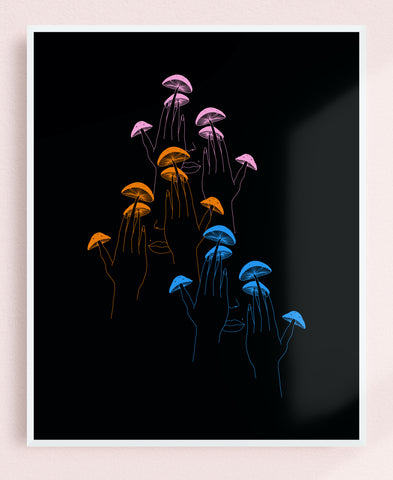 Triple Shroom Fingers 8x10 Art Print