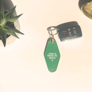 Home Is Where The Weed Is Retro Motel Keychain