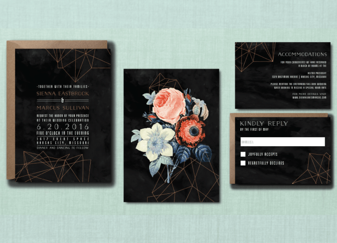 Moody Geometric Botanical Wedding Suite
