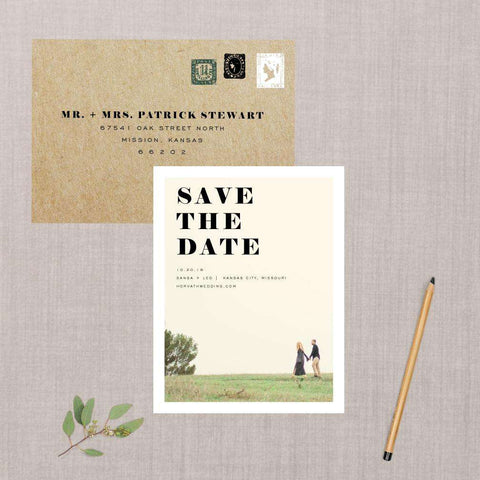 Bold Minimalist Photo Save the Date