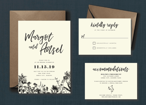 Vintage Minimalist Botanical Wedding Suite