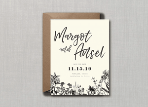 Vintage Minimalist Botanical Save the Date