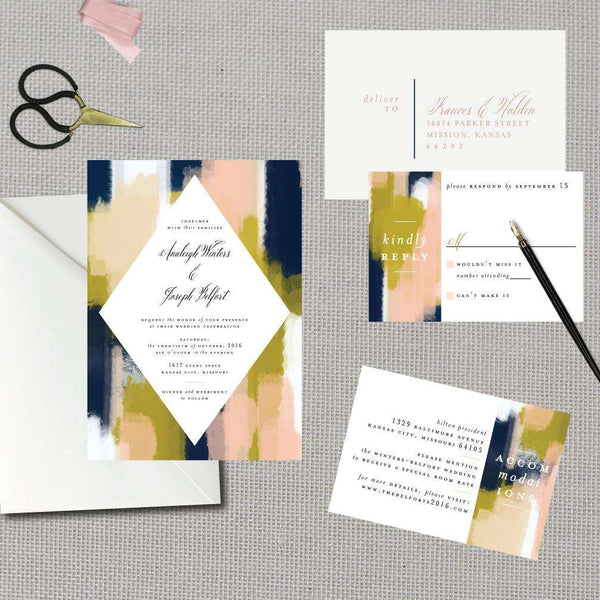 Modern Abstract Strokes Wedding Suite