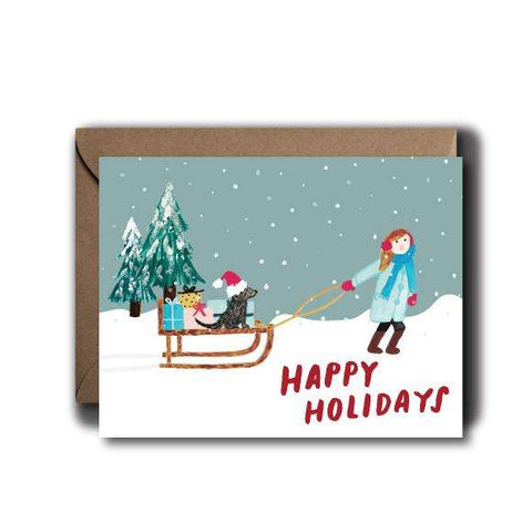 Whimsical Scene Christmas Seasonal Greeting Card | A2