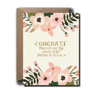 Cynical Heart Floral Wedding Greeting Card A2 black lab studio