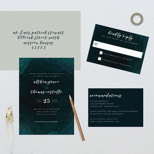 Watercolor Night Constellation Wedding Suite