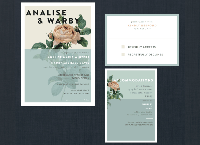 Vintage Botanical Rose Wedding Suite