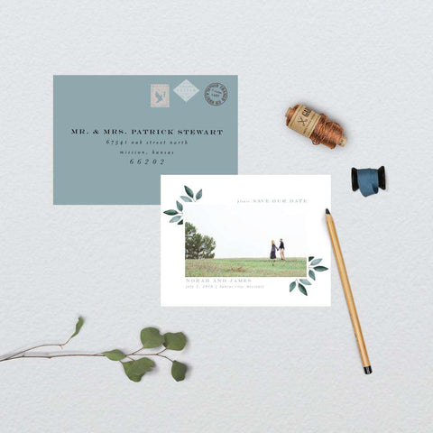 Eucalyptus Watercolor Botanical Photo Save the Date