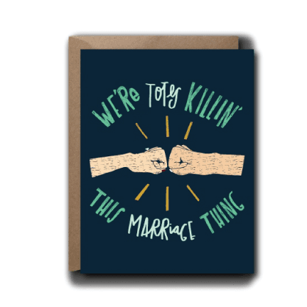 Fist Bump Anniversary Wedding Greeting Card | A2