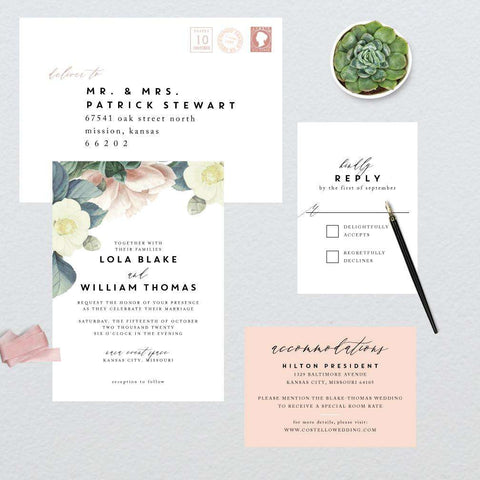 Chic Vintage Botanicals Frame Wedding Suite