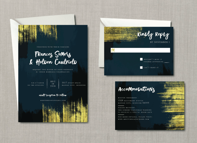 Modern Abstract Gold Wedding Suite