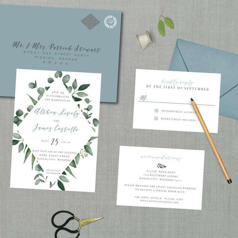 Greenery Botanical Diamond Border Wedding Suite