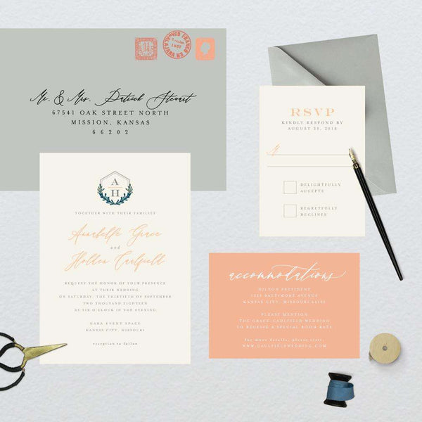 Geometric Hexagon Monogram Wedding Suite