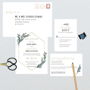 Geometric Floral Frame Wedding Suite