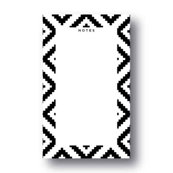 Geometric Black & White Ikat Notepad | 4.25x7 | 50 Sheets