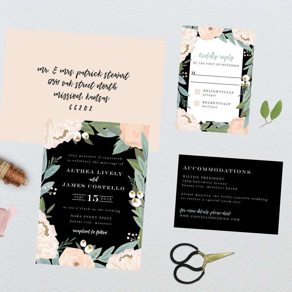 Midnight Botanical Floral Wedding Suite