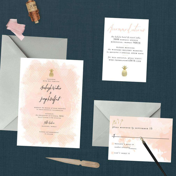 Modern Geometric Pineapple Wedding Suite