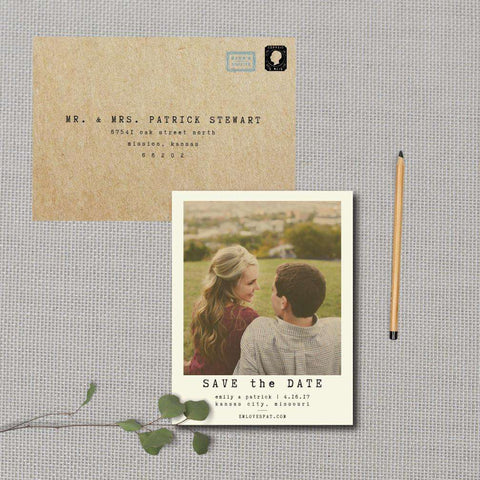 Minimalist Polaroid Photo Save the Date