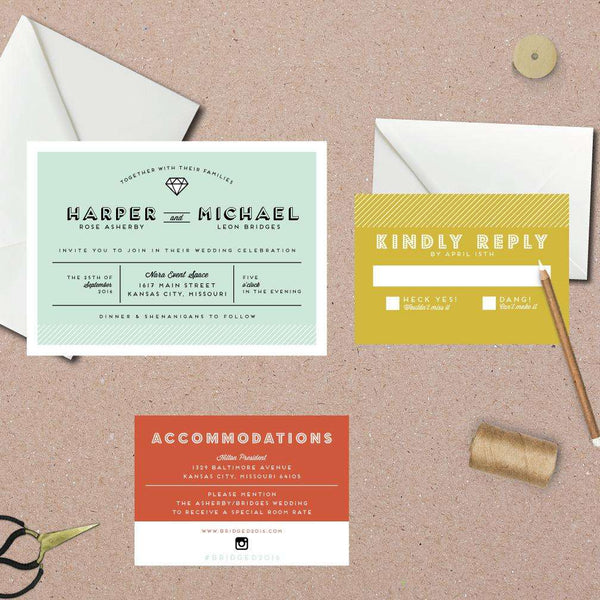 Modern Whimsical Icon Wedding Suite
