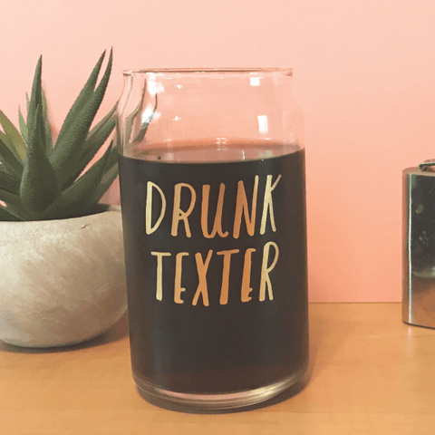 KC Relief Drunk Texter Drinking Glass | 16 Oz.